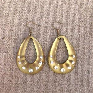 NEW Gold Acrylic + Rhinestone Teardrop Earrings